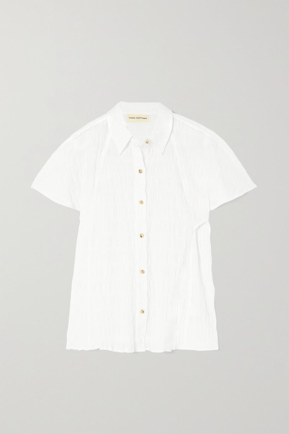 Mara Hoffman Phebe smocked organic stretch-cotton shirt