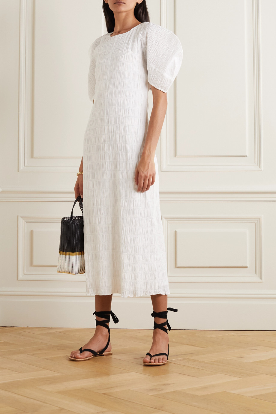 Mara Hoffman Aranza 皱褶装饰有机弹力棉质中长连衣裙