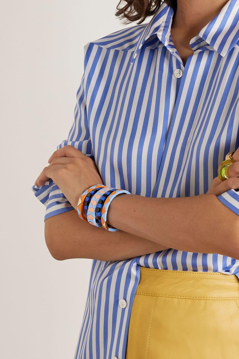 Roxanne Assoulin Nemo Set aus fünf goldfarbenen Armbändern mit Emaille