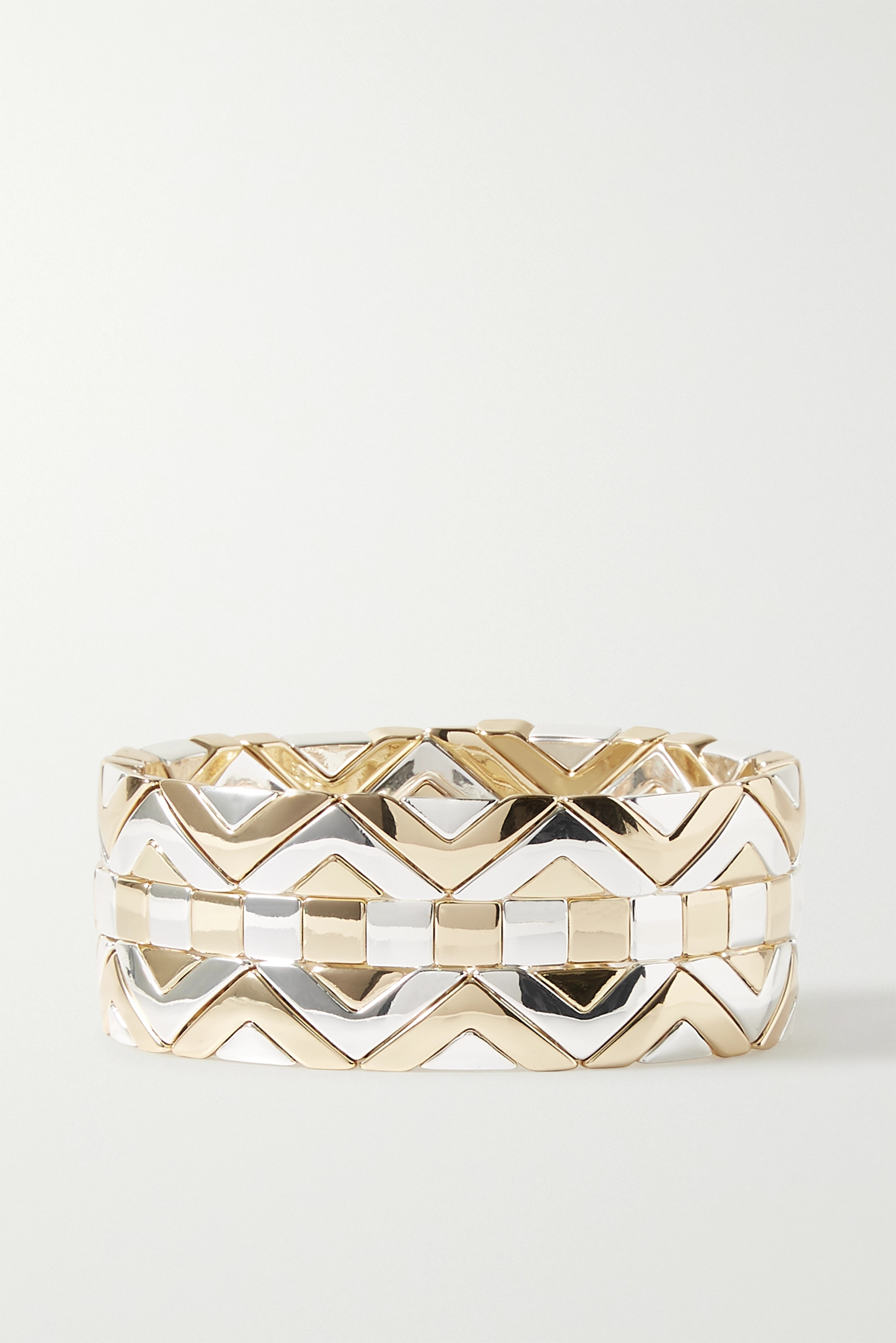 Roxanne Assoulin Raise The Bar set of three gold and silver-tone bracelets