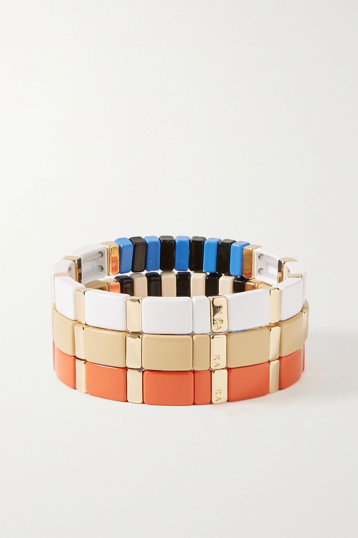 Roxanne Assoulin Classic Sport set of three enamel and gold-tone bracelets