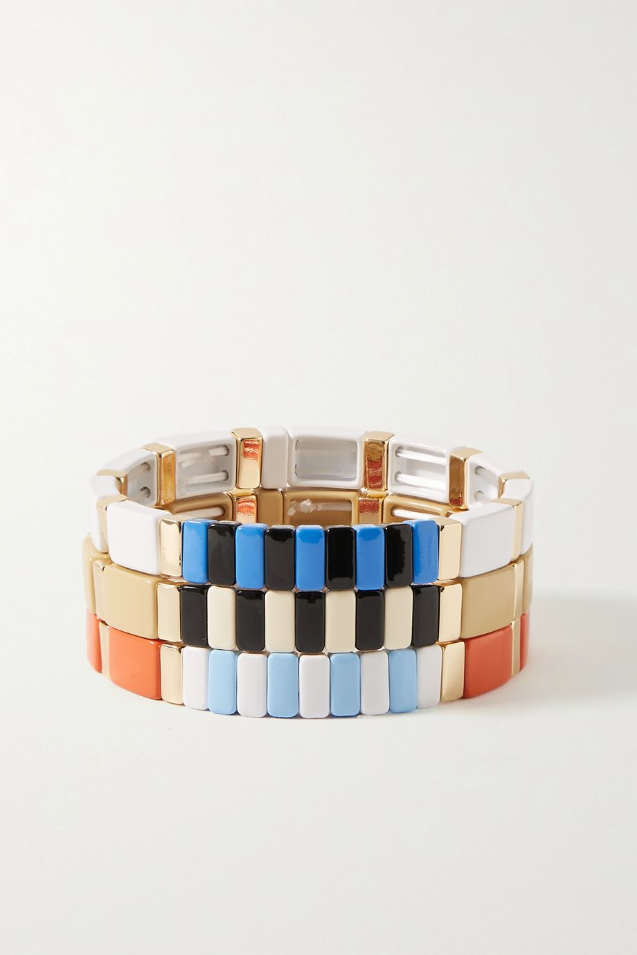 Roxanne Assoulin Classic Sport set of three enamel and gold-tone bracelets