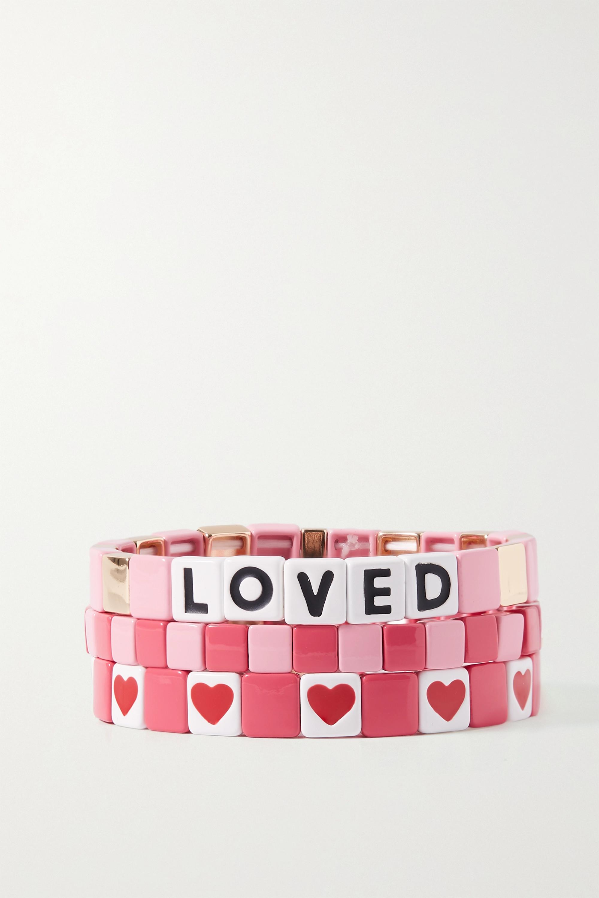 Roxanne Assoulin Sweet Heart set of three enamel and gold-tone bracelets