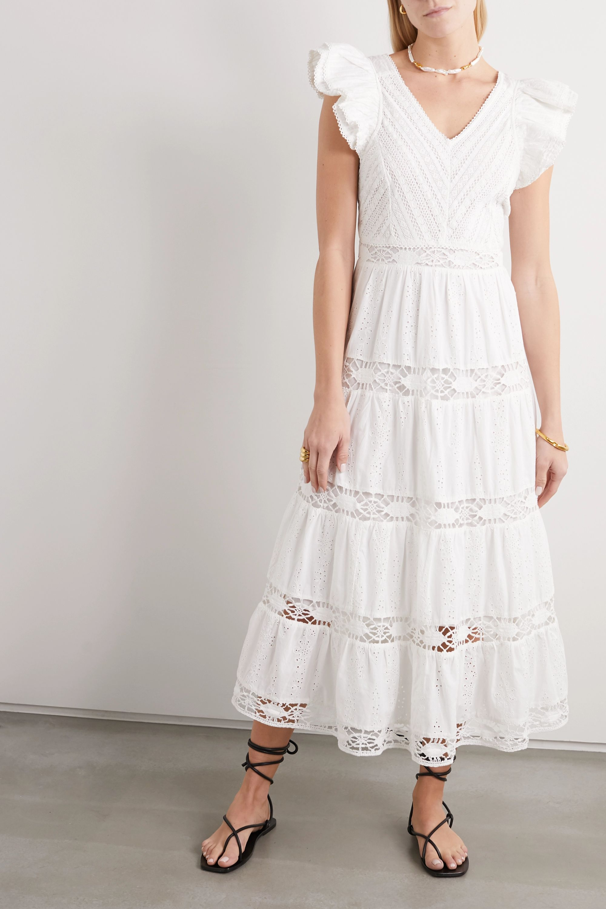 Sea Lea crochet-trimmed ruffled broderie anglaise cotton maxi dress
