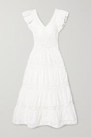 Lea crochet-trimmed ruffled broderie anglaise cotton maxi dress