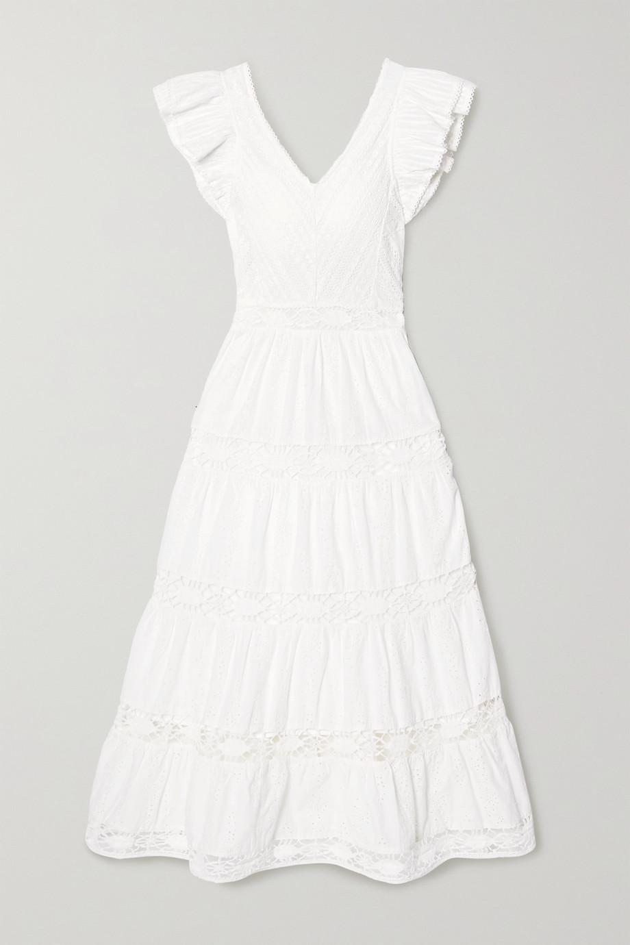 SEA | Lea crochet-trimmed ruffled broderie anglaise cotton maxi dress | NET-A-PORTER.COM
