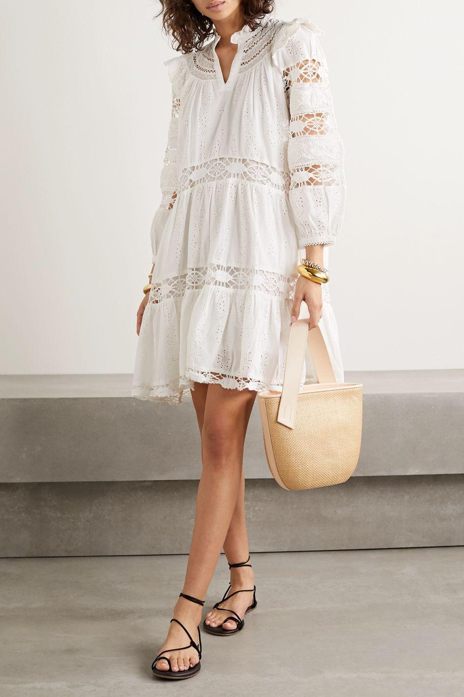 Sea Lea crochet-trimmed ruffled broderie anglaise cotton mini dress