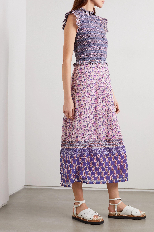 Sea Bianca ruffled smocked floral-print cotton midi dress