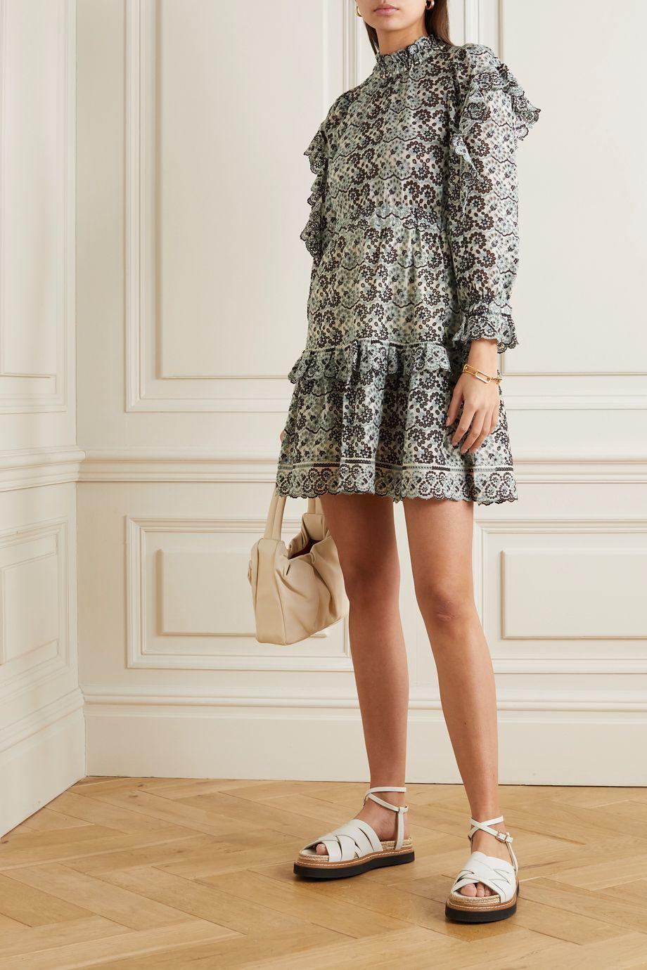 Sea Aurelia ruffled broderie anglaise cotton mini dress