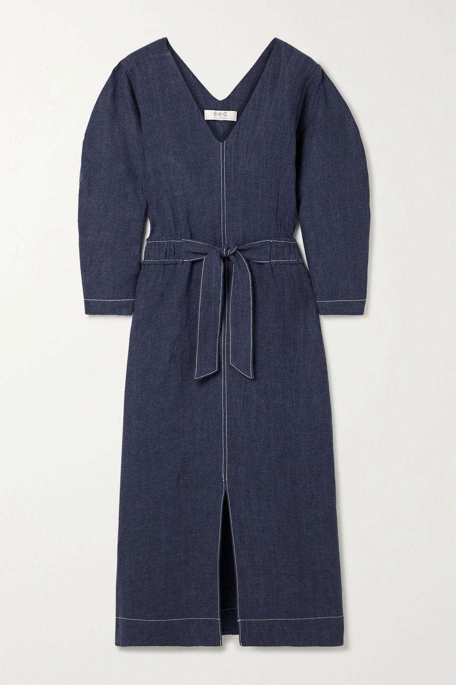 Sea Maxine tie-front linen midi dress