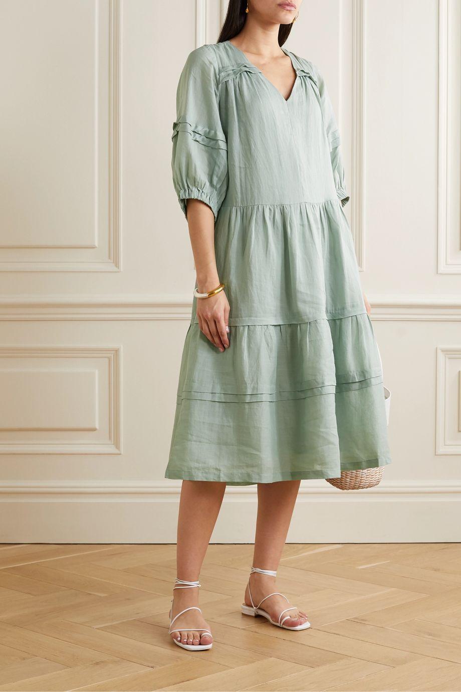 Sea Lucy tiered ramie midi dress