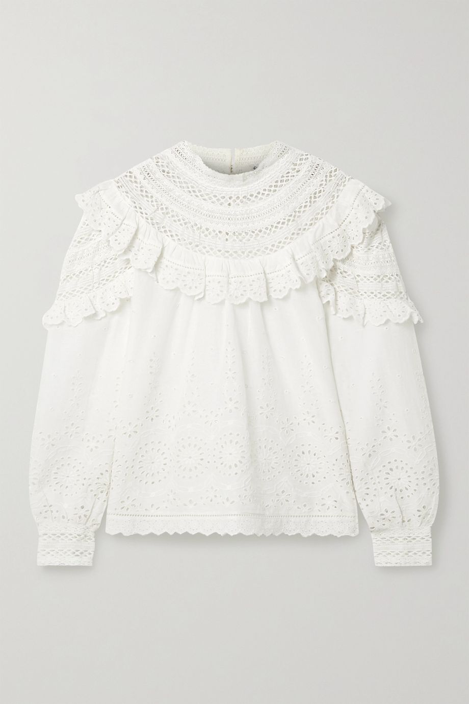 Sea Daisy crochet-trimmed ruffled broderie anglaise cotton blouse