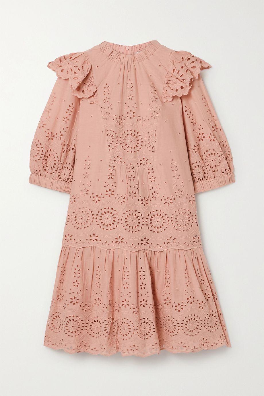 Sea Daisy ruffled broderie anglaise cotton mini dress