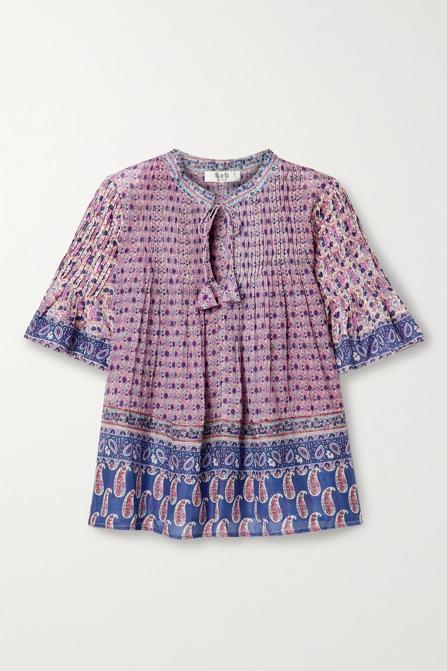 Sea Bianca pintucked printed cotton-voile top