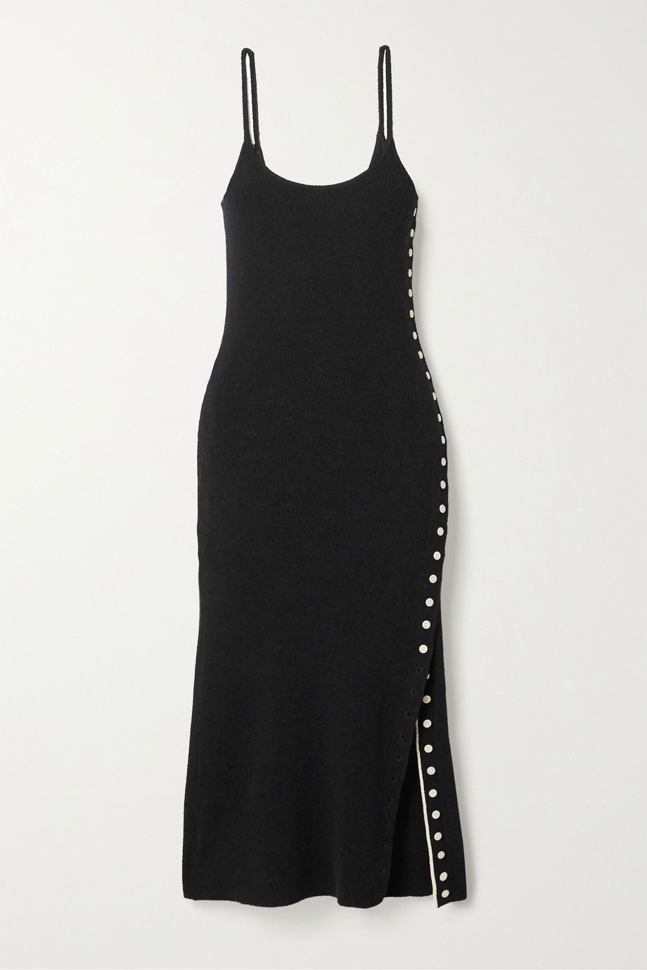 Proenza Schouler White Label Button-detailed ribbed-knit midi dress