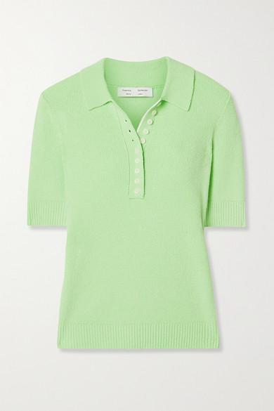 Proenza Schouler White Label - Ribbed-knit Polo Shirt - Green