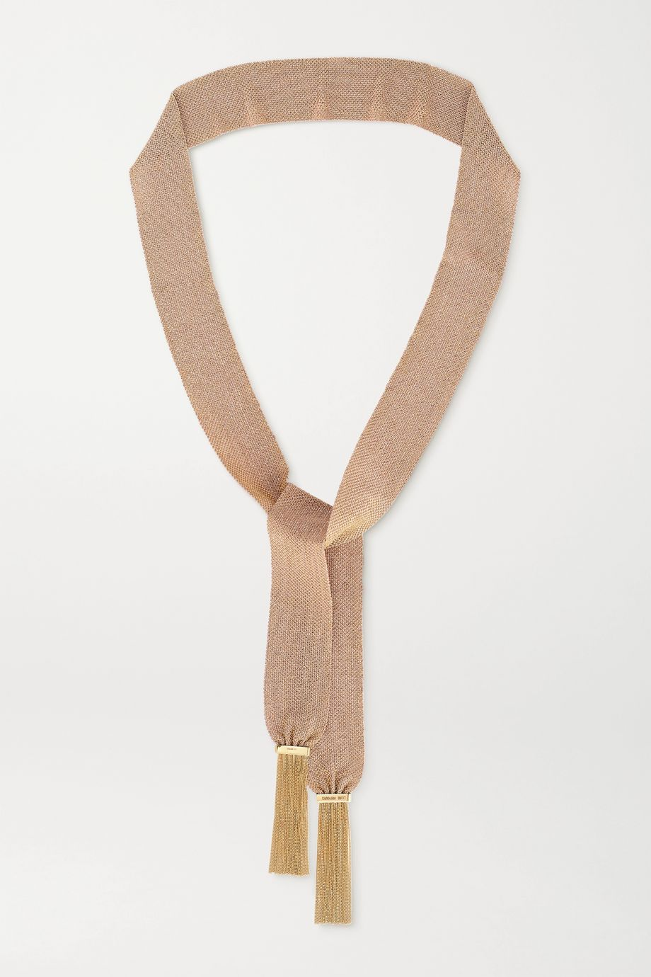 Carolina Bucci Pinched 18-karat gold and silk necklace
