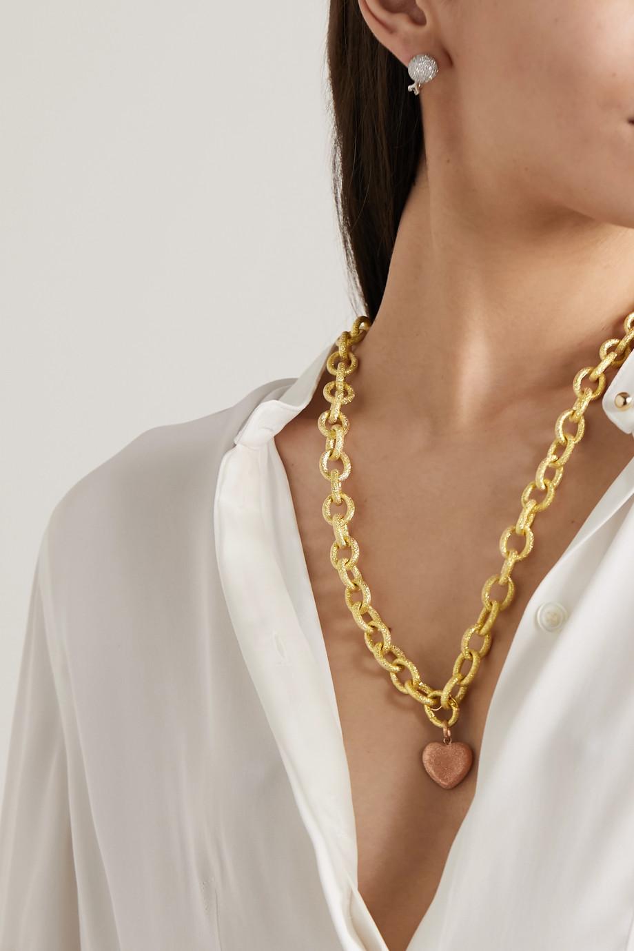 Carolina Bucci Florentine 18-karat yellow and rose gold necklace