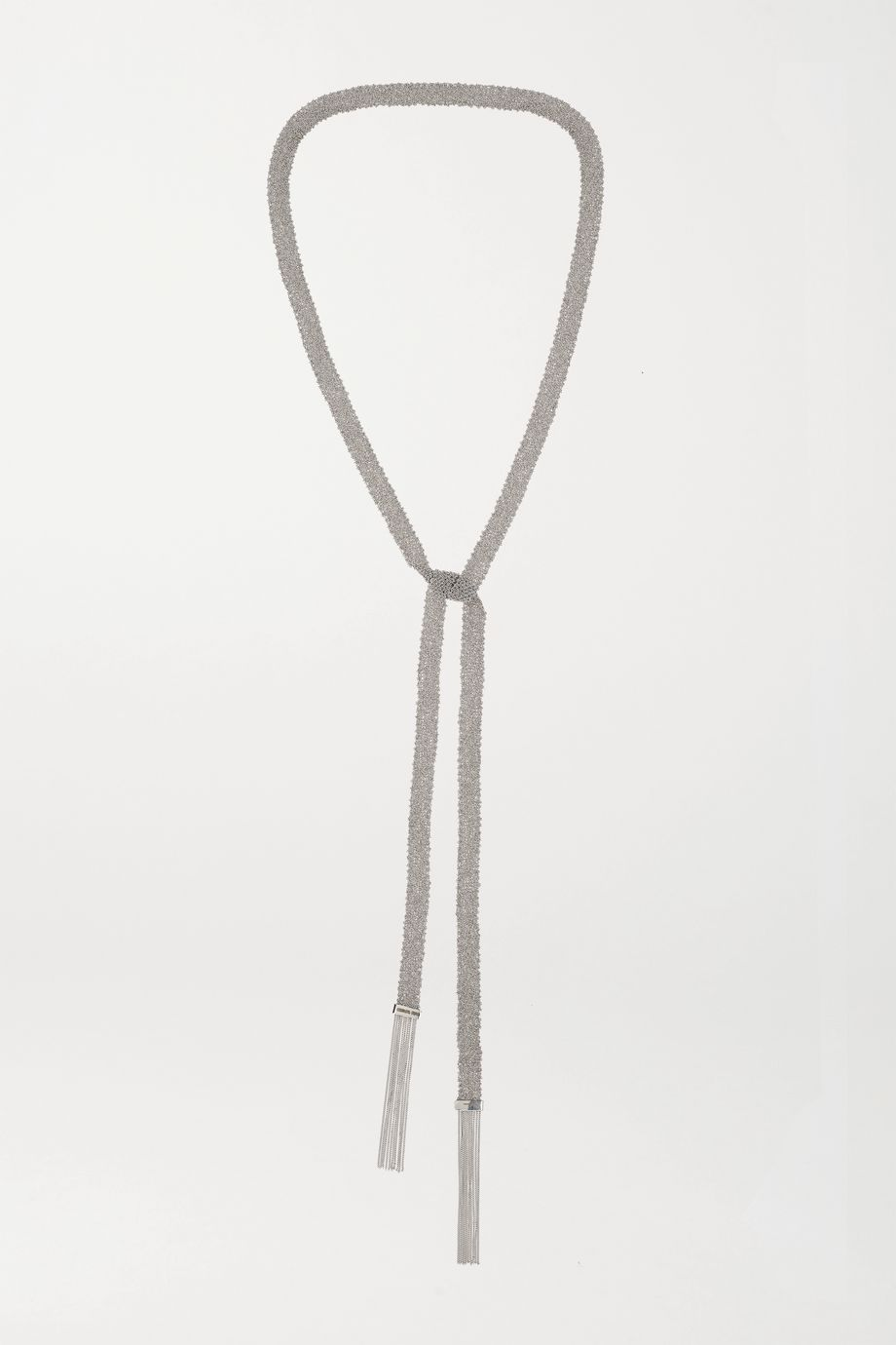 Carolina Bucci Classic 18-karat white gold and silk necklace