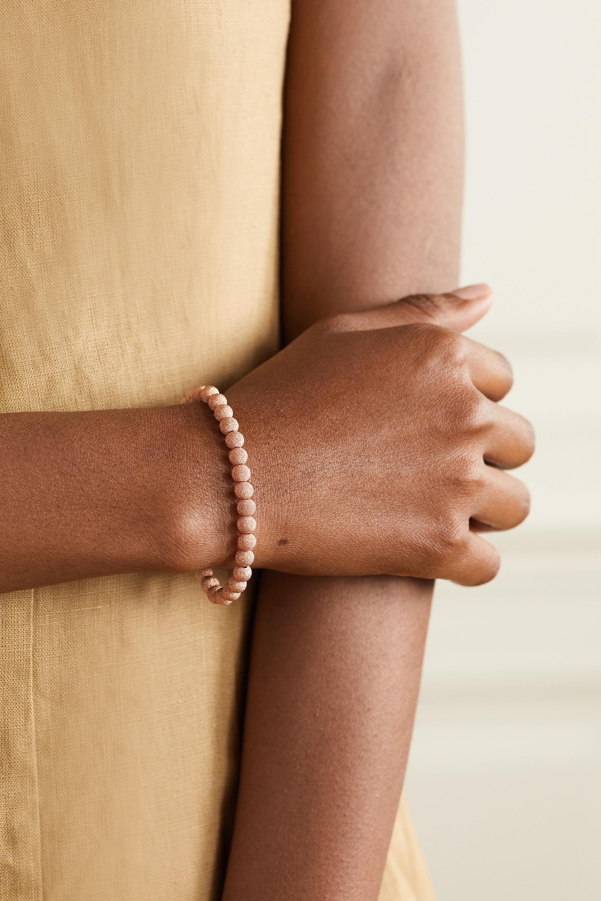 Carolina Bucci Florentine 18-karat rose gold beaded bracelet