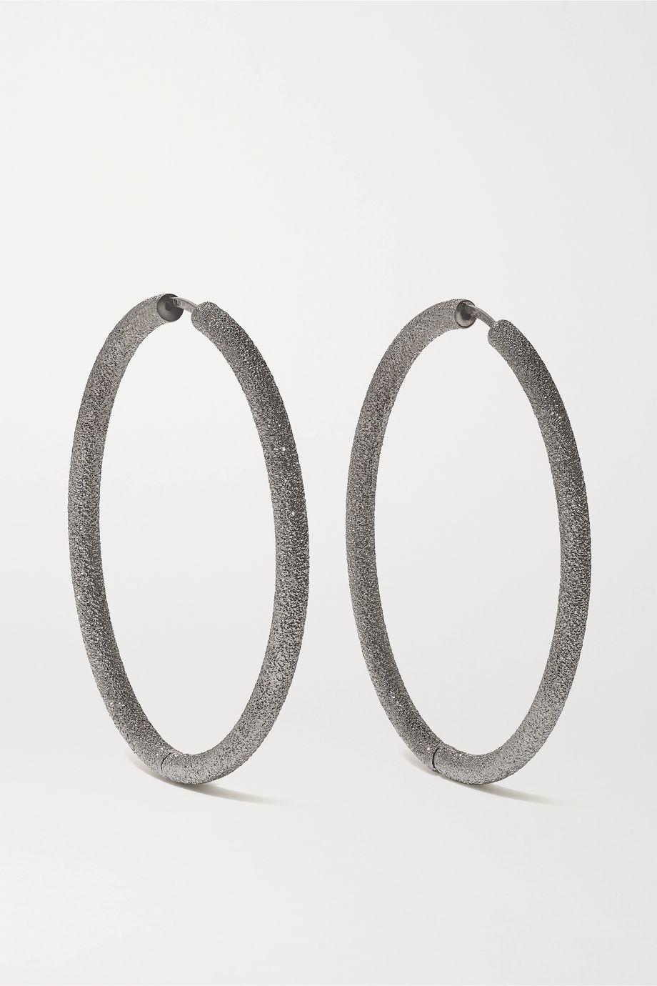 Carolina Bucci Florentine 18-karat blackened gold hoop earrings