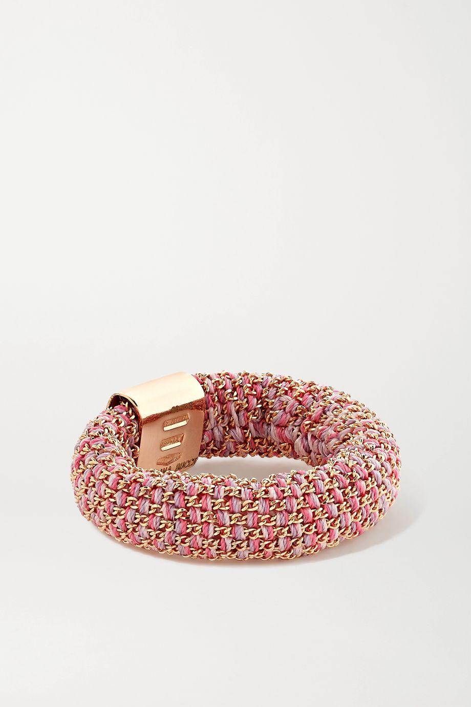 Carolina Bucci Slide 18-karat rose gold and silk ring