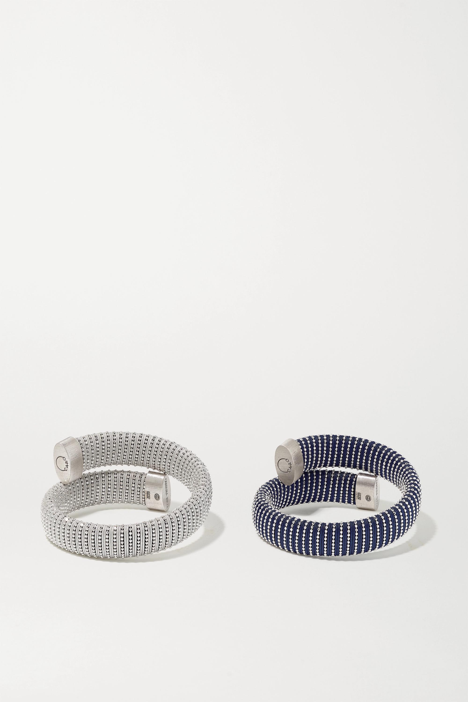 Carolina Bucci Caro set of two white gold-plated and cotton bracelets
