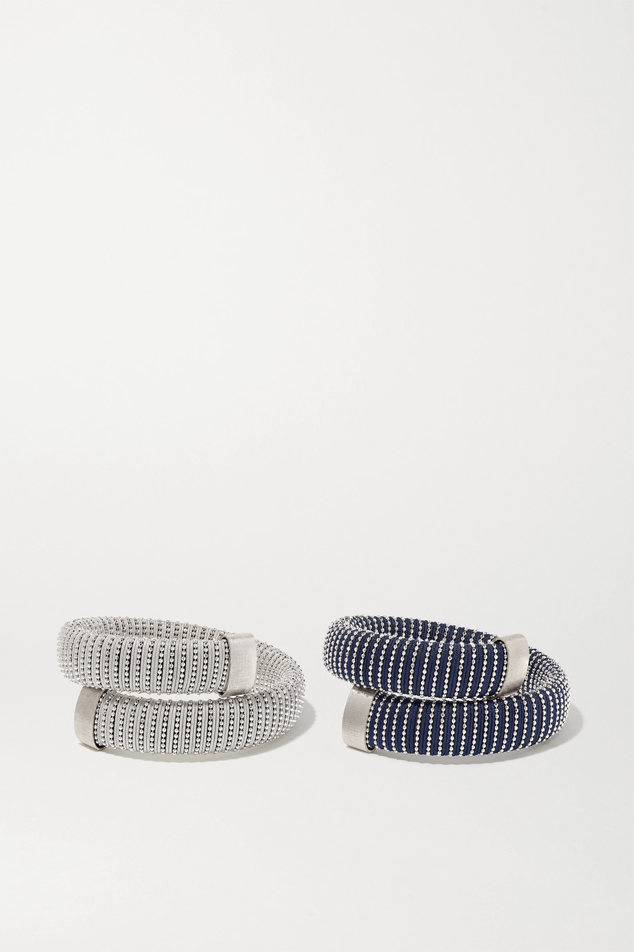 Carolina Bucci Caro set of two white gold-plated and cotton bracelets