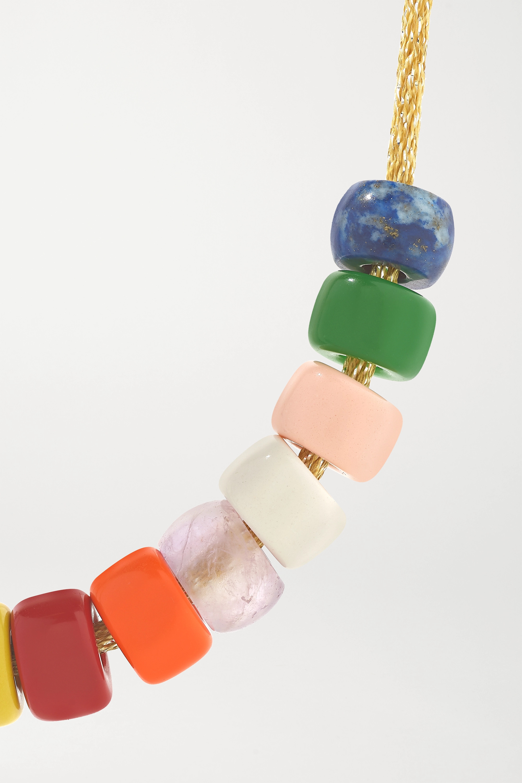 Carolina Bucci FORTE Brillenkette aus 18 Karat Gold und Lurex® mit mehreren Steinen