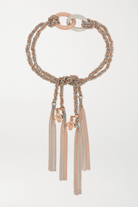 Rose gold Virtue Lucky 18-karat white and rose gold and silk bracelet | Carolina Bucci pUmoPQ
