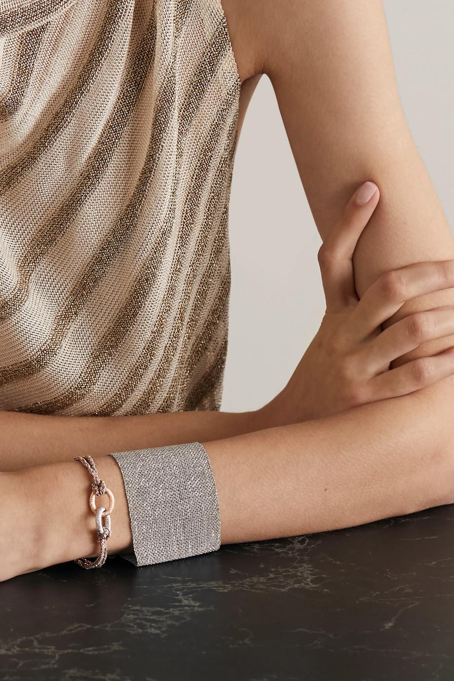 Carolina Bucci Virtue Lucky Armband aus 18 Karat Weiß- und Roségold und Seide