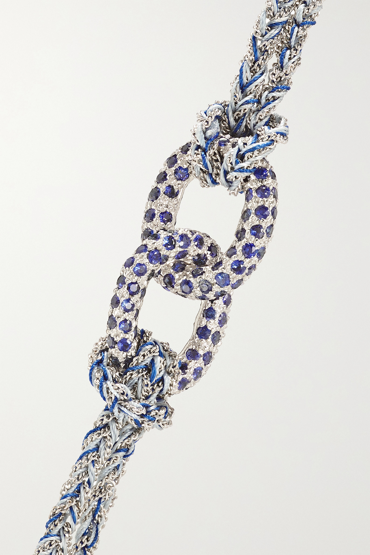 Carolina Bucci Balance Lucky 18-karat white gold, sapphire and silk bracelet