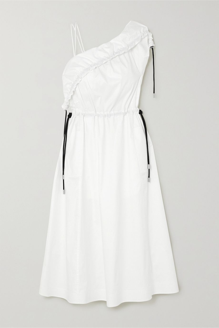 3.1 Phillip Lim One-shoulder stretch-cotton poplin midi dress