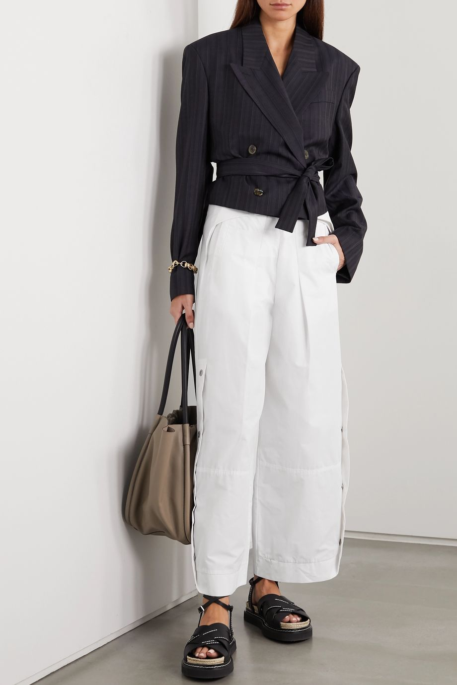 3.1 Phillip Lim Cropped belted cotton-blend wide-leg pants