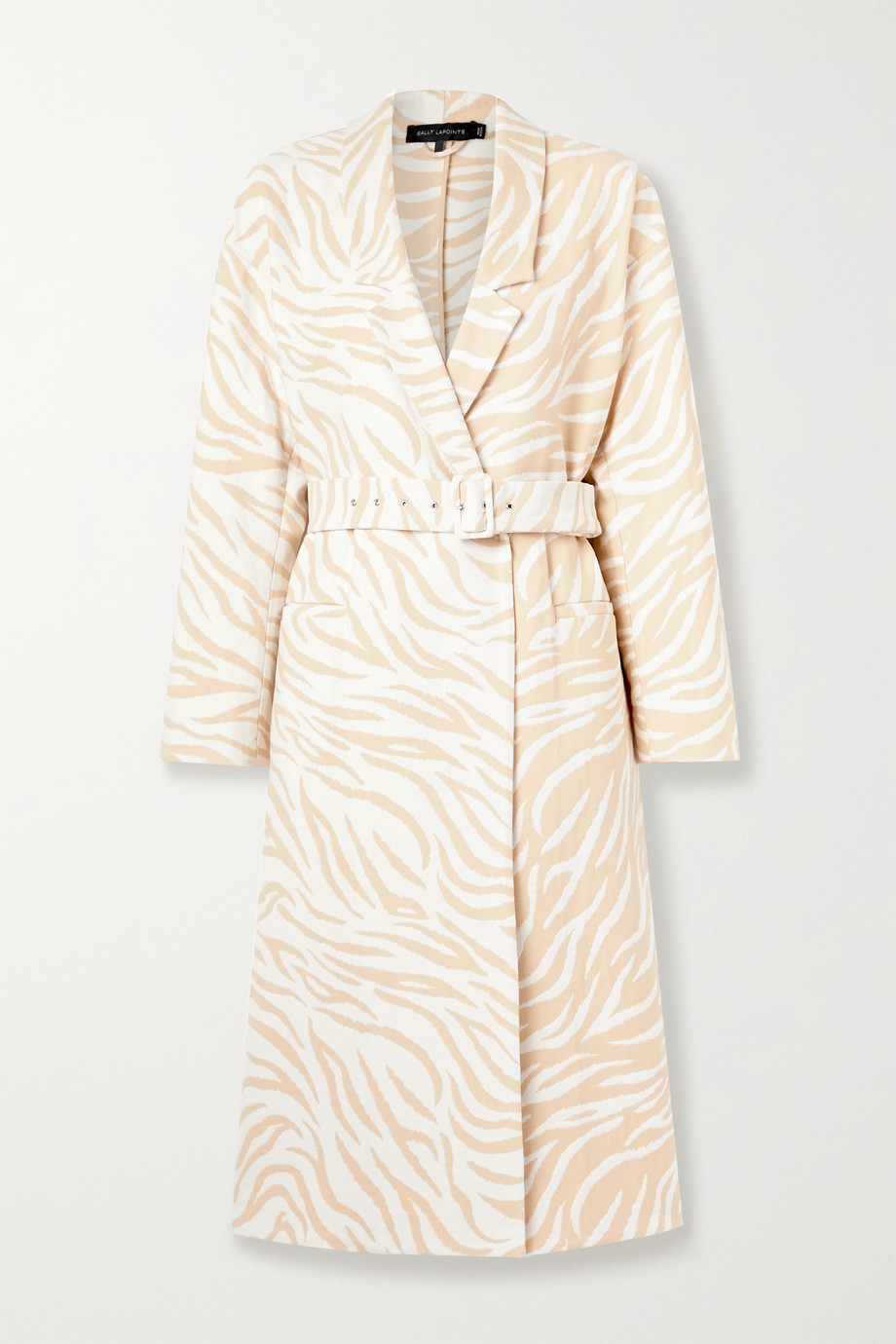 Sally LaPointe Belted double-breasted cotton-blend zebra-jacquard coat