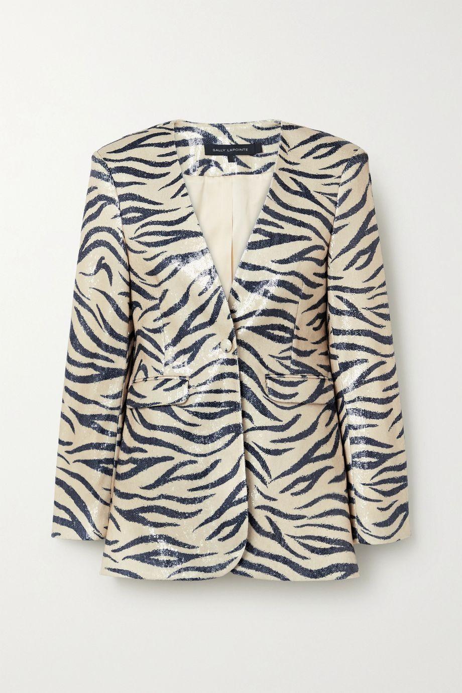 LAPOINTE Zebra-print sequined woven blazer