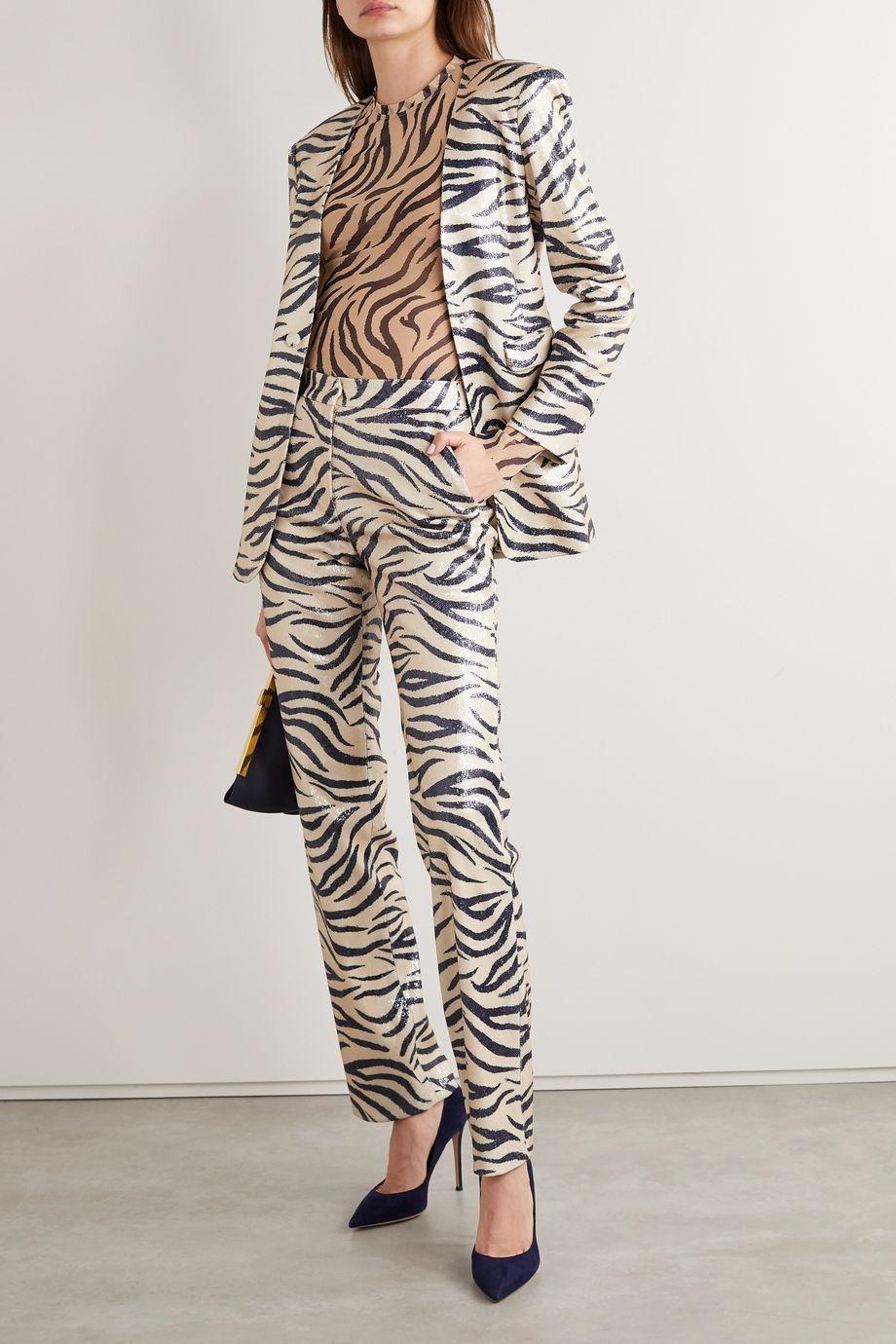 LAPOINTE Zebra-print sequined woven slim-leg pants