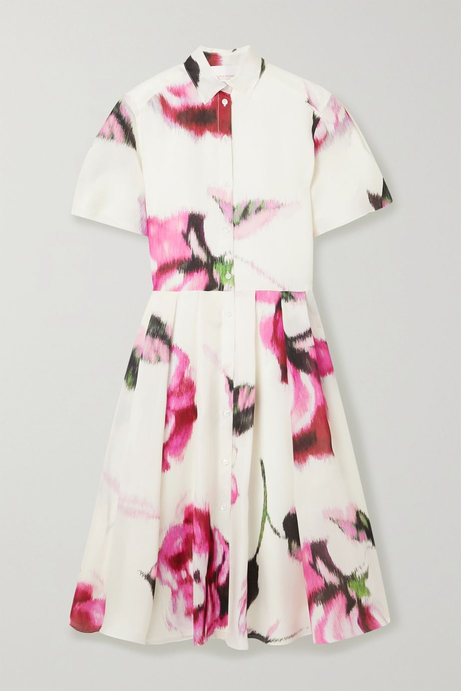 Carolina Herrera Pleated floral-print silk-organza midi dress