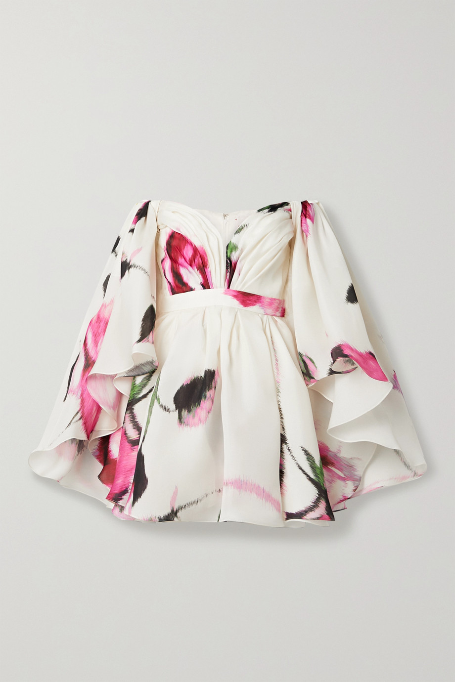 Carolina Herrera Off-the-shoulder cape-effect floral-print silk-organza mini dress