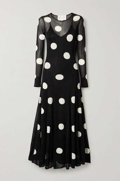 Carolina Herrera Knits POLKA-DOT JACQUARD-KNIT MAXI DRESS
