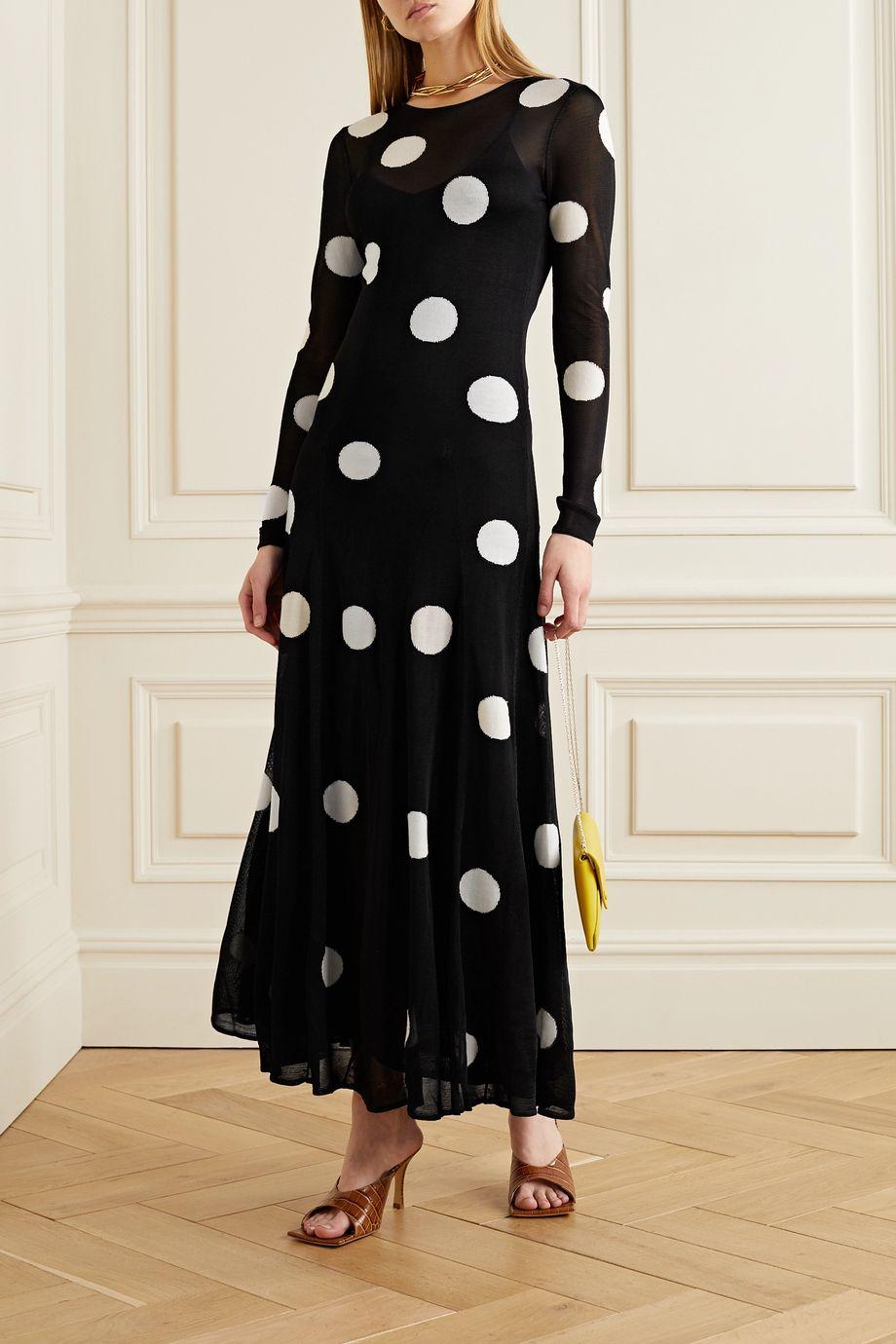 Carolina Herrera Polka-dot jacquard-knit maxi dress