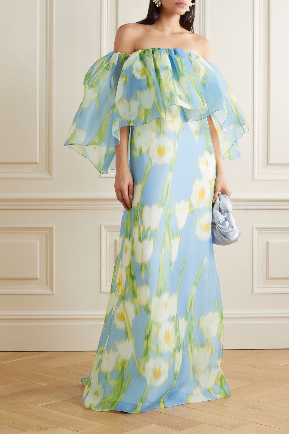 Carolina Herrera Off-the-shoulder floral-print silk-organza maxi dress