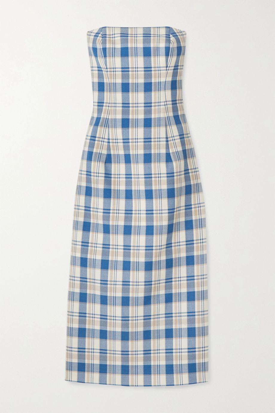 Carolina Herrera Strapless checked cotton-piqué midi dress