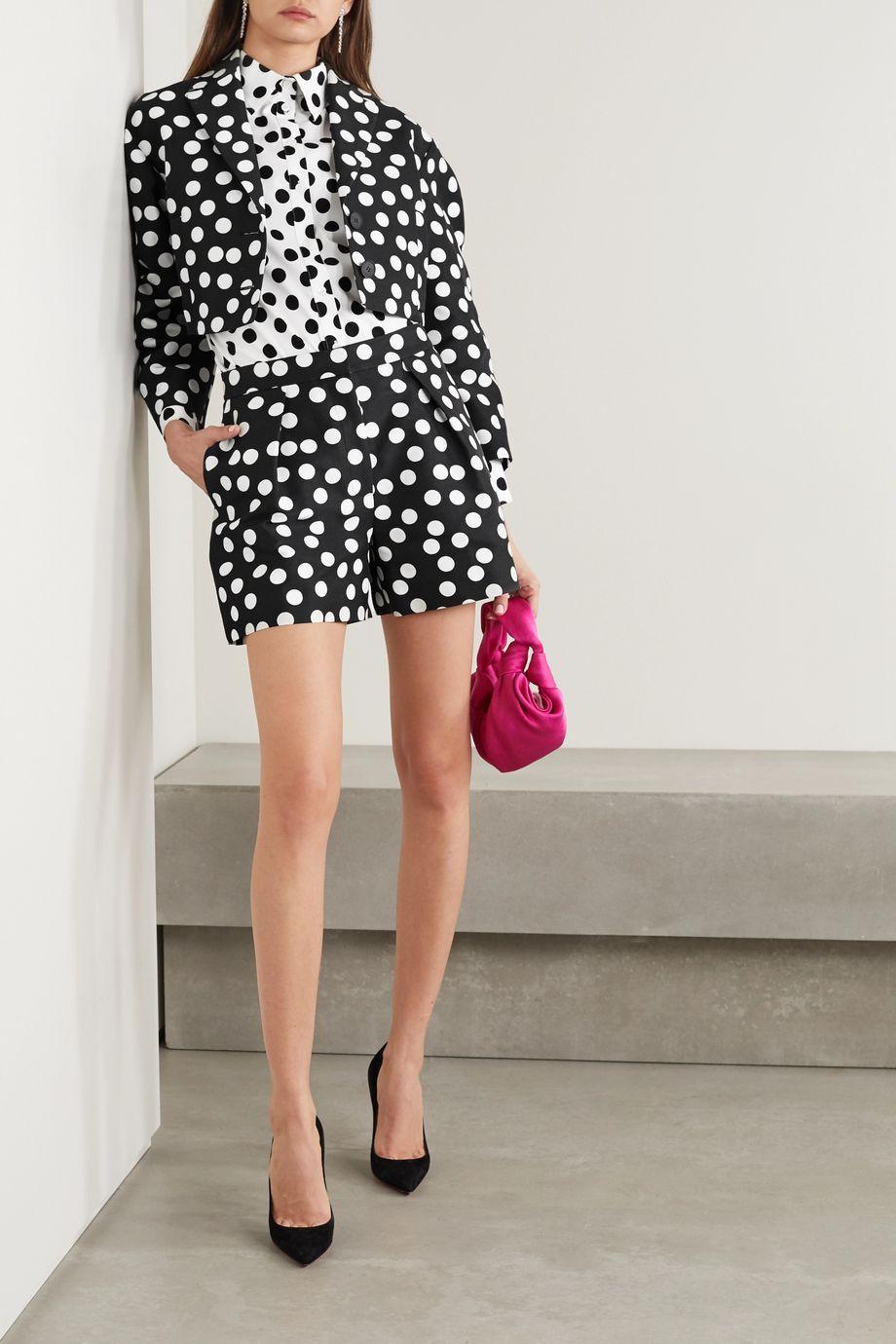 Carolina Herrera Pleated polka-dot cotton and silk-blend faille shorts