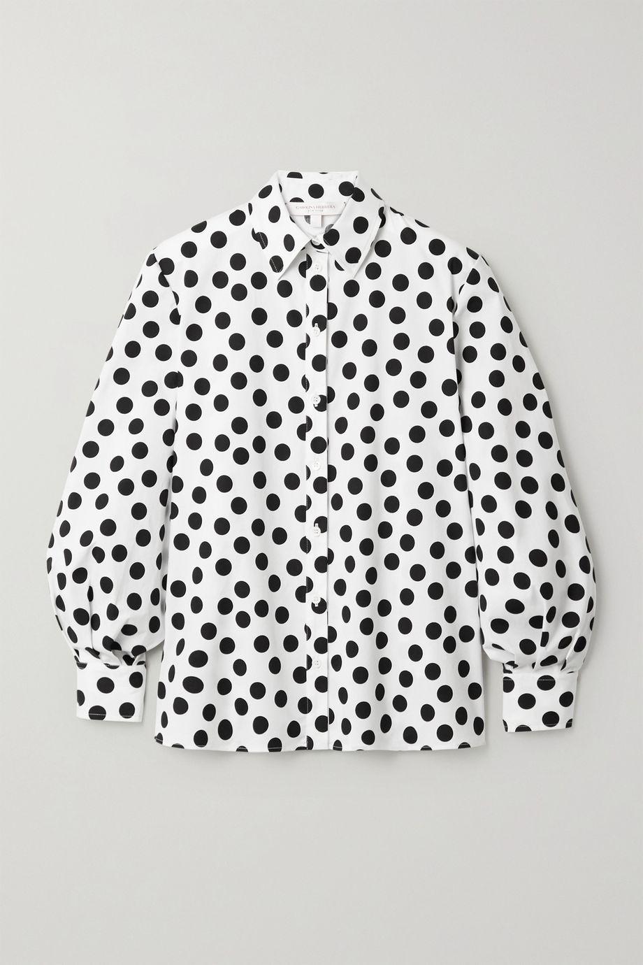 Carolina Herrera Polka-dot cotton-blend poplin shirt
