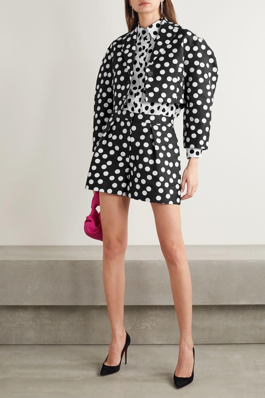 Carolina Herrera Cropped polka-dot cotton and silk-blend faille jacket