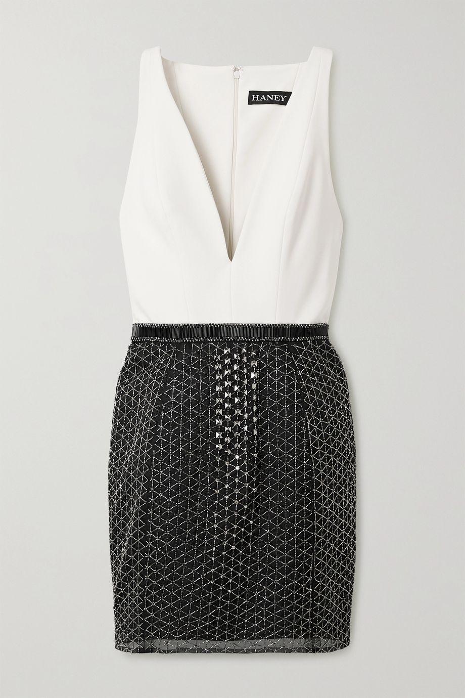 Haney Delilah embellished crepe and chiffon mini dress