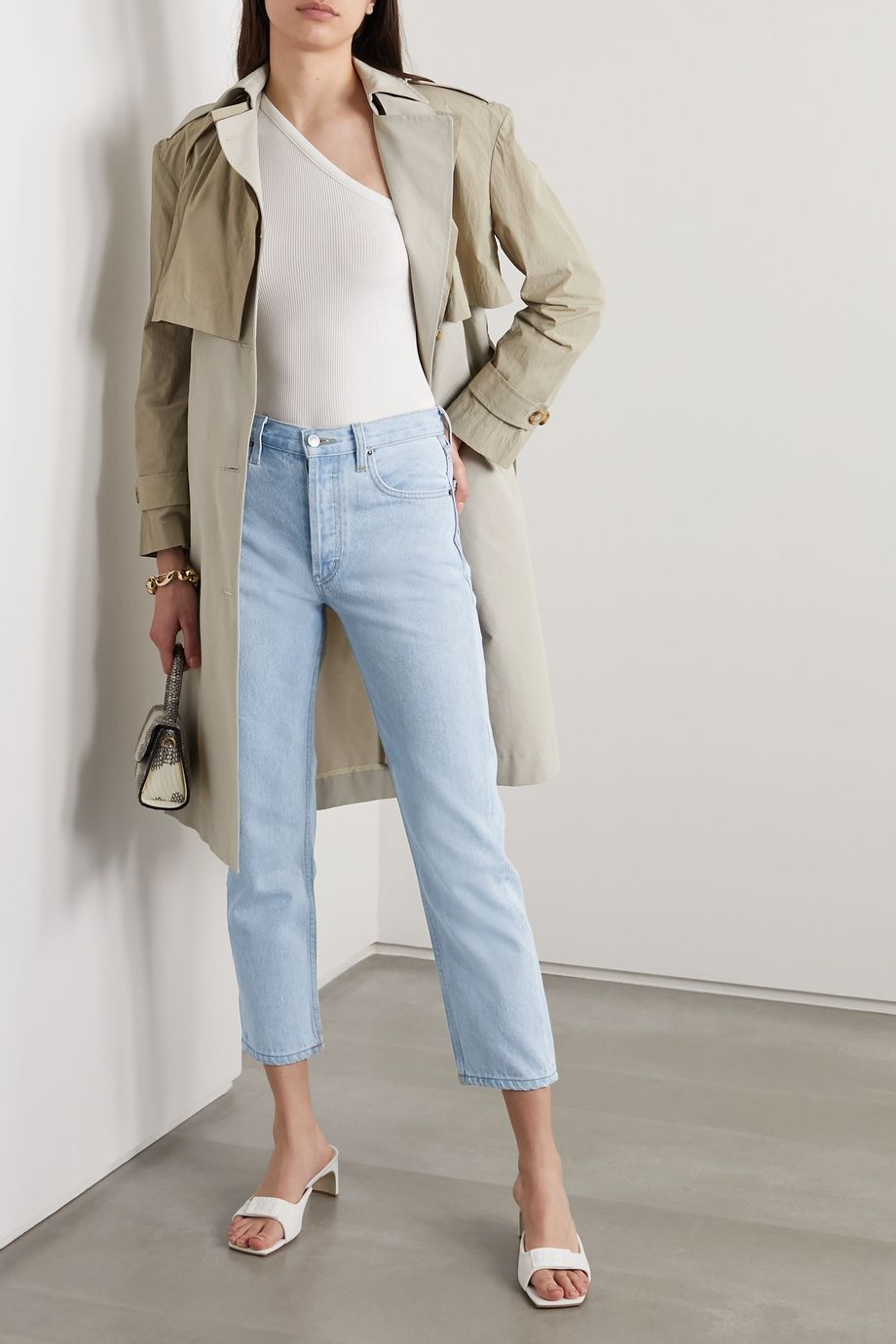 Still Here Tate Crop striped high-rise straight-leg jeans