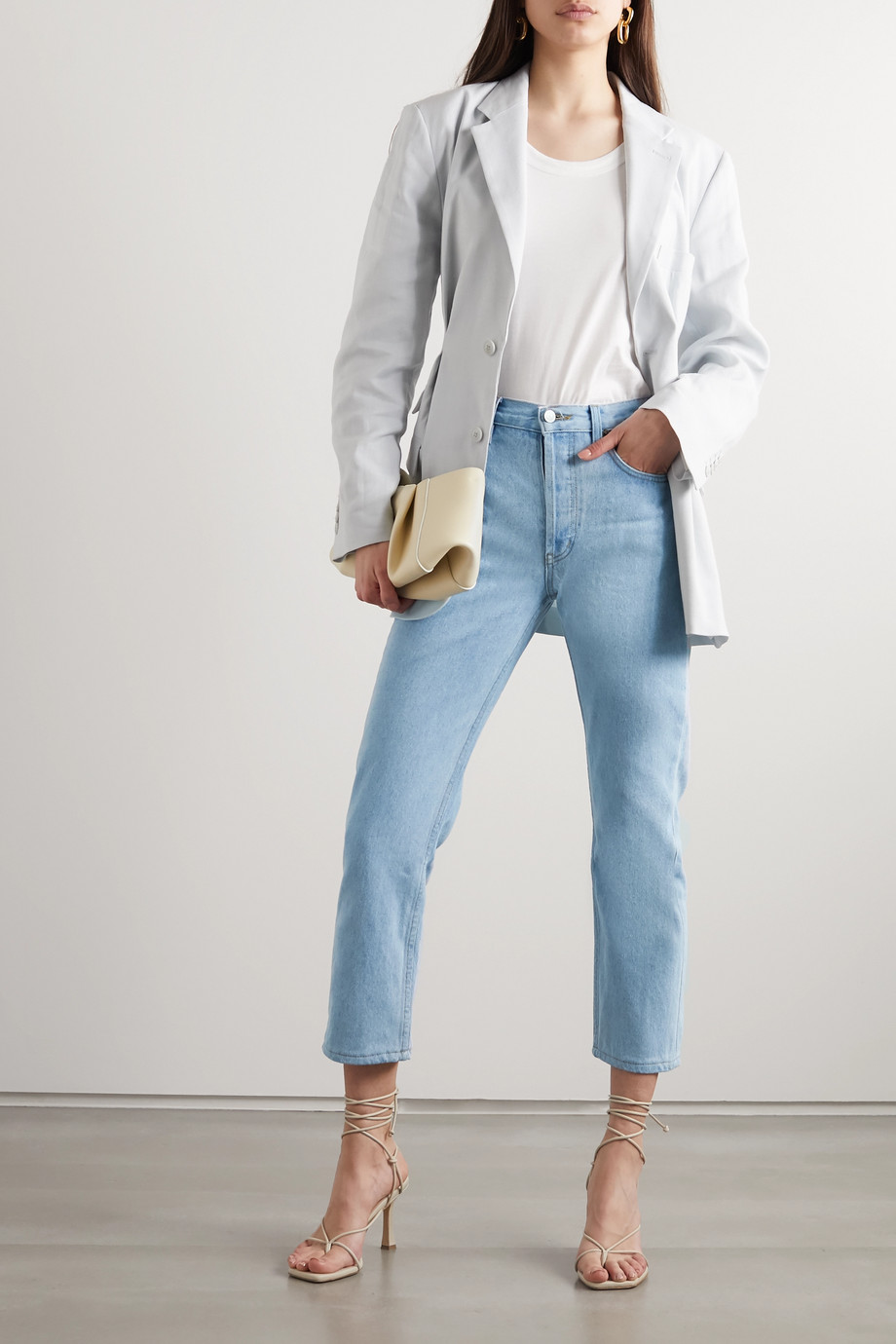 Still Here Tate Crop beaded high-rise straight-leg jeans