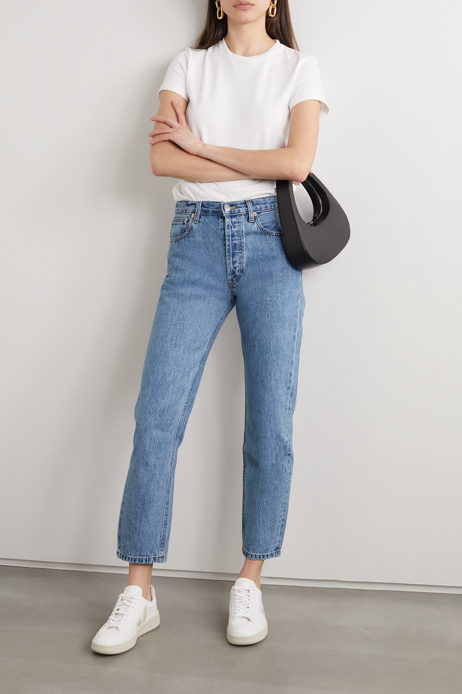 Still Here Tate Crop painted high-rise straight-leg jeans